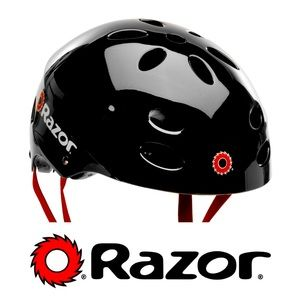 "Razor Helmet, Black with Red Straps. Size M (23"")"